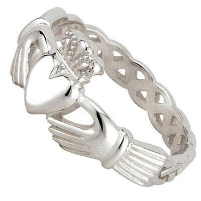 Geflochtener Claddagh-Ring für Damen aus gepunztem Sterlingsilber