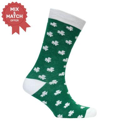 Green Lucky Irish Socks With White Toe And Shamrock Pattern Design