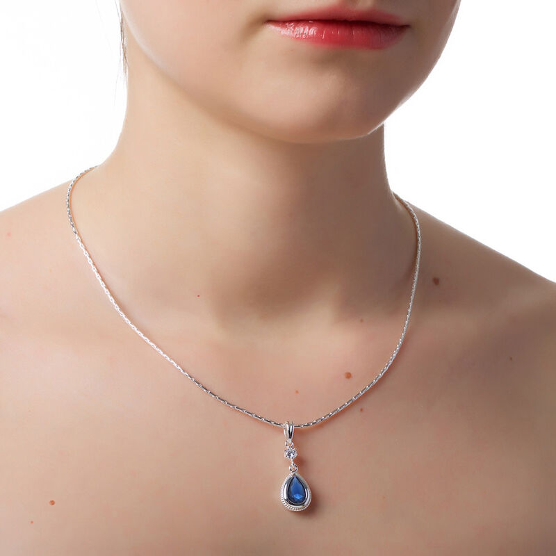 Newbridge Silverware Silver Plated Pendant With Sapphire Blue Stones