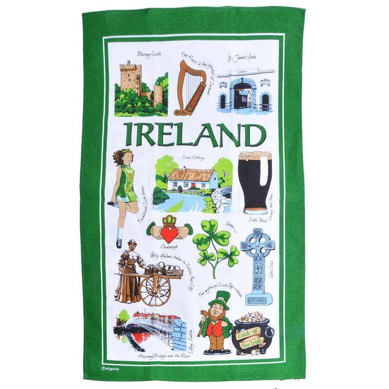 Iconic Ireland T-Towel Designed With Various Irish Symbols And Landmarks