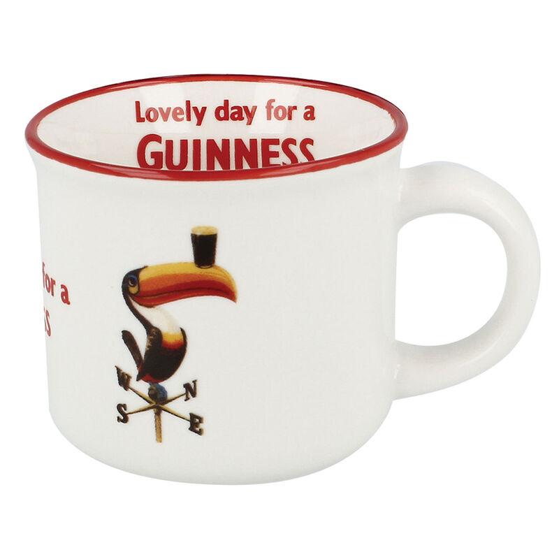Ceramic Guinness White Espresso Mug With Toucan Label Design
