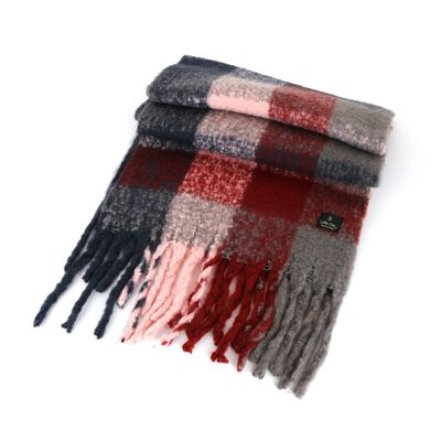 Celtic Ore Light Grey Red Pink Colour Soft Oversized Wrap Scarf