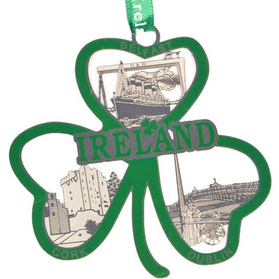 Ireland Metal Crafted Hanging Decoration With Green Shamrock Design