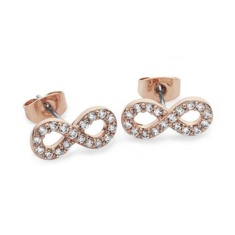 Tipperary Crystal Rose Gold Simple Infinity Knot Stone Stud Earrings
