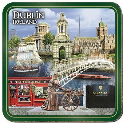 Dublin Irland  Einzelner Untersetzer mit Collage aus Molly Malone und Ha'penny Brücke