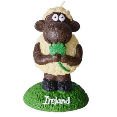"4"" Candle of Seamus The Sheep Holding an Ireland Shamrock"