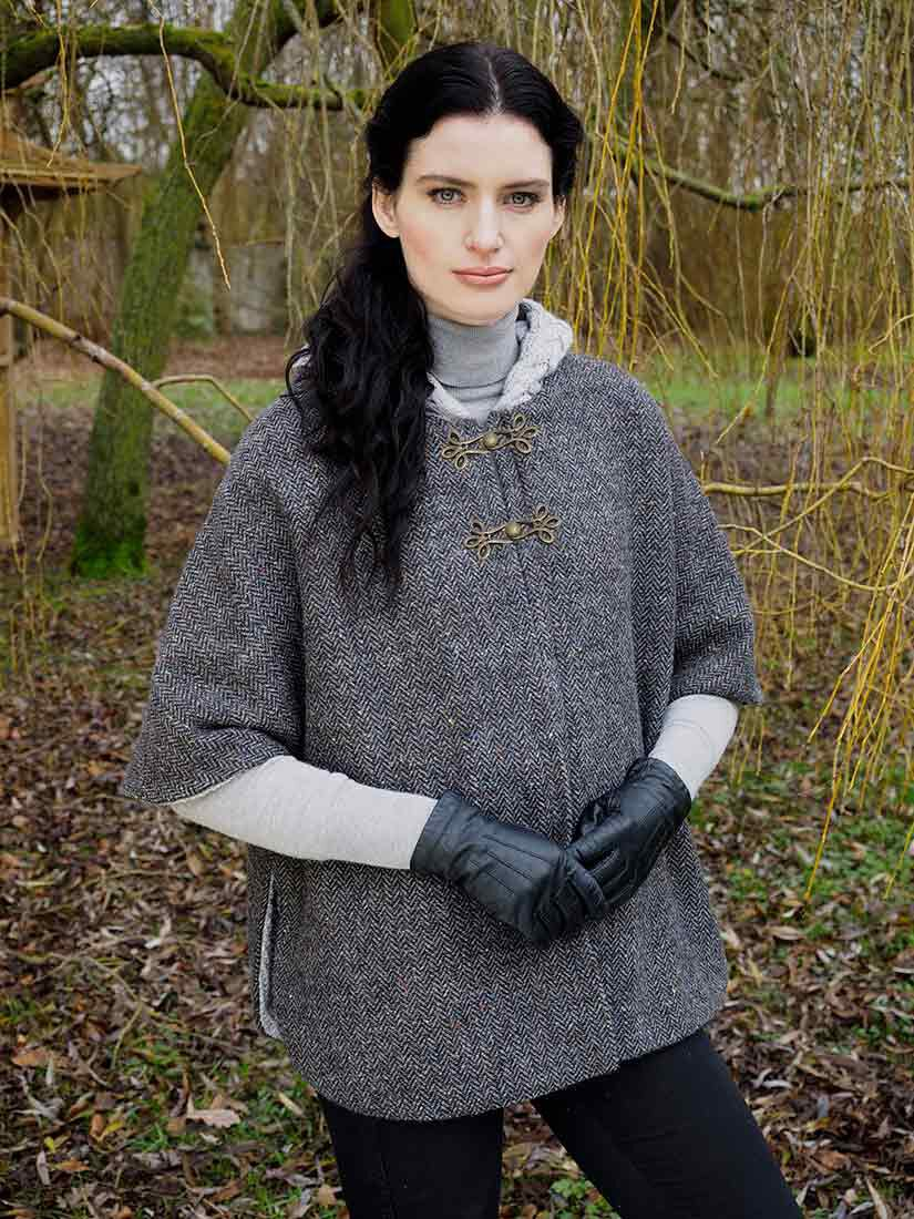Buy Merino Wool and Donegal Tweed Hooded Cape With Aran