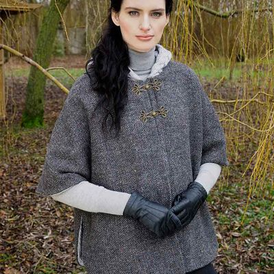 Merino Wool and Donegal Tweed Hooded Cape With Aran Lining  Charcoal Colour