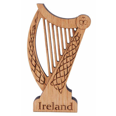 Harp Shaped Wooden Plaque