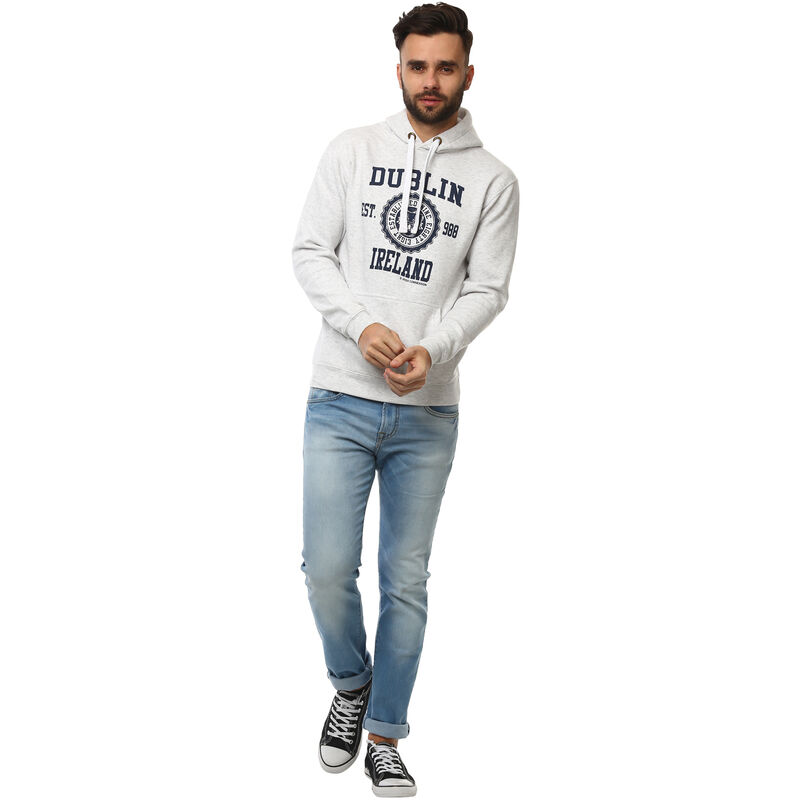 Pullover Hoodie With Dublin Capital City 988 Print  Grey Colour