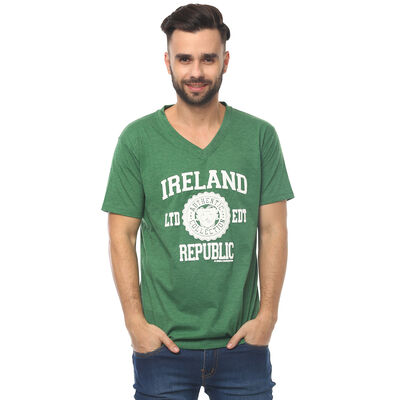 T-Shirt With Ireland Republic LTD EDT  Varsity Shield  Green Colour