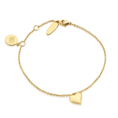 Gold Plated Newbridge Silverware Bracelet with Heart Charm