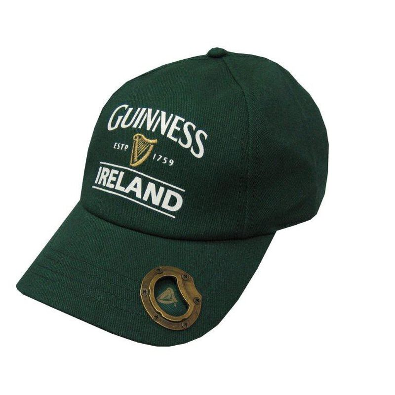Bottle Green Guinness Baseball Cap With Bottle Opener And Ireland Est. 1759 Text