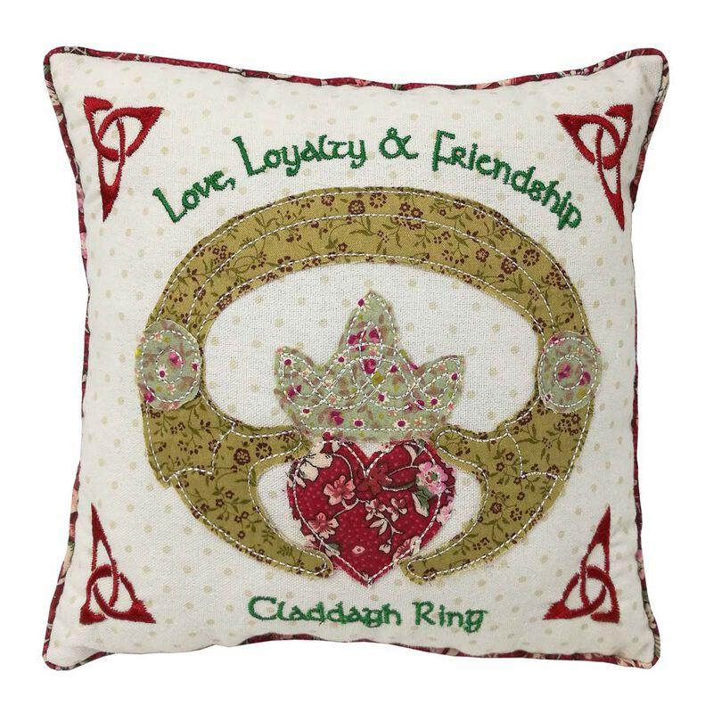 "10"" Square Patchwork Appliqué Cushion Claddagh Design"