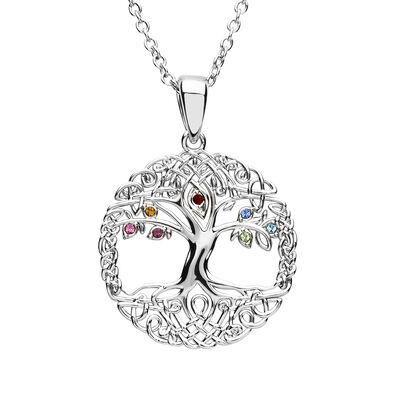 Platinum Plated Tree Of Life Pendant With Multi Colour Swarovski Crystal