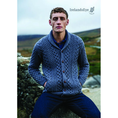 Woodford Merino Wool Aran Cardigan, Steel Marl Colour