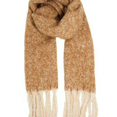 Herringbone Mohair Look Fringed Scarf  Soft Ginger and White Colour