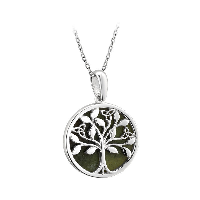 Hallmarked Sterling Silver Connemara Marbe Tree of Life Pendant