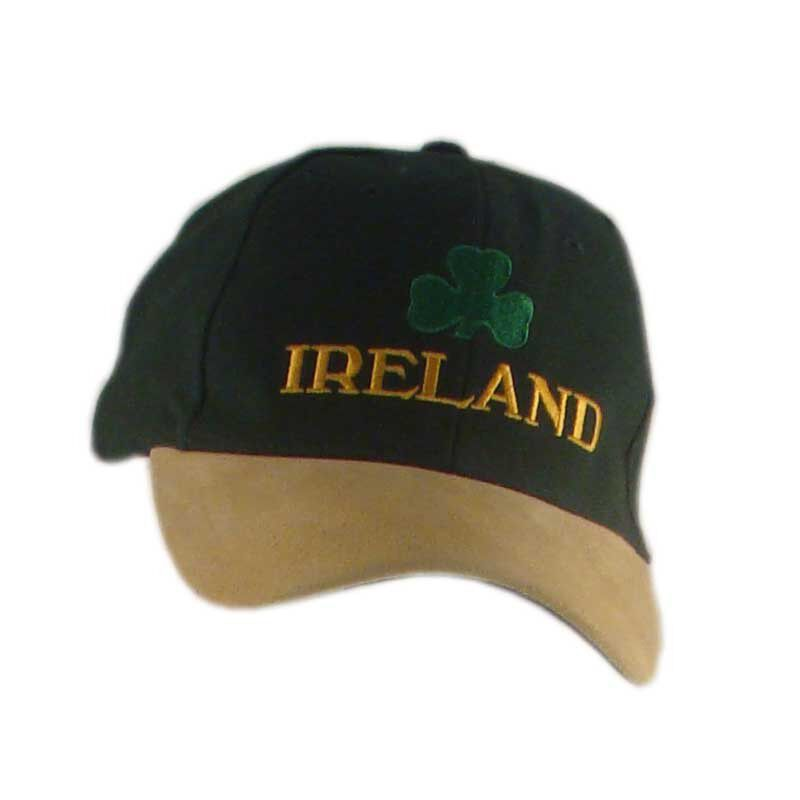Baseball Cap With Embroidered Ireland And Shamrock  Green And Mustard Colour