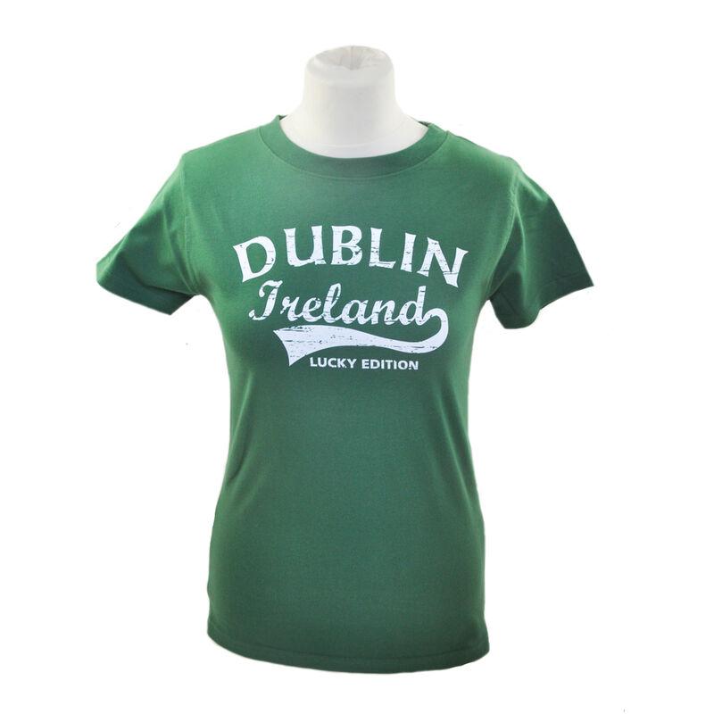 Damen T-Shirt mit Fame-Stil Dublin Irland Druck  salbeigrün