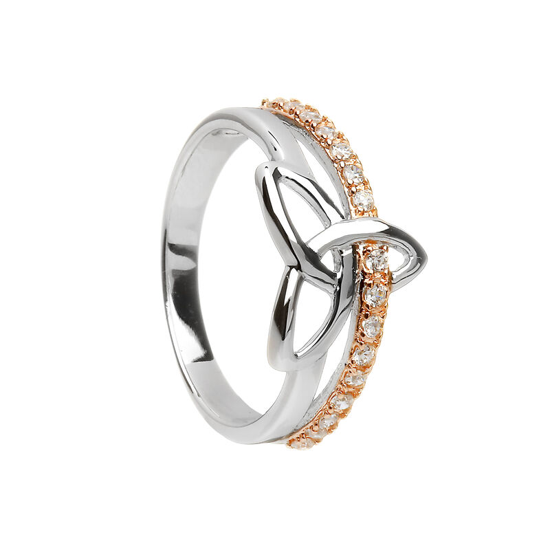 Sterling Silver And Rose Gold Ring With Celtic Trinity Design