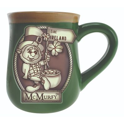 Irish Style Green McMurfy Designed Pottery Mug With Ireland Sign