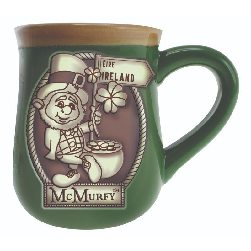 Irish Style Green McMurfy Designed Pottery Mug With Ireland Sign