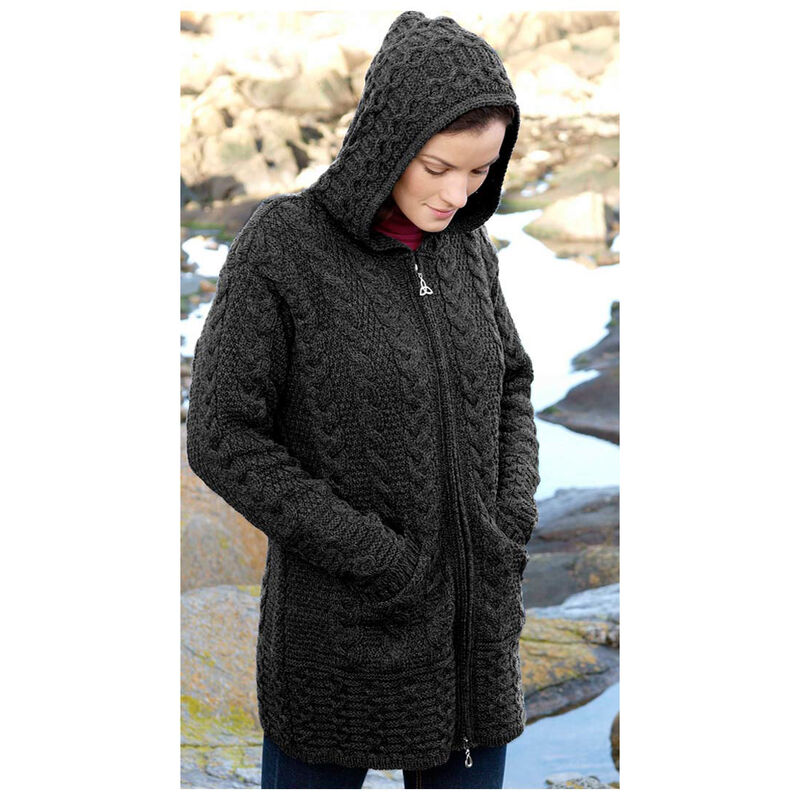 100% Merino Wool Ladies Hooded Coat With Celtic Knot Zipper, Charcoal Colour