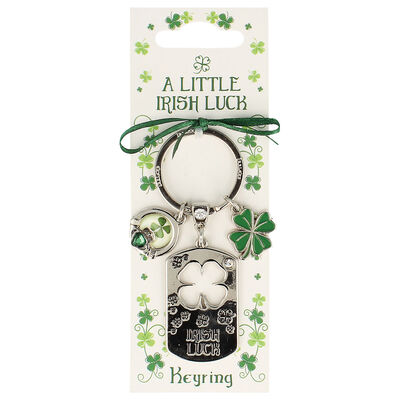 Silver Metal Keychain With Ribbon Clover Charm And 'Irish Luck' Text Design
