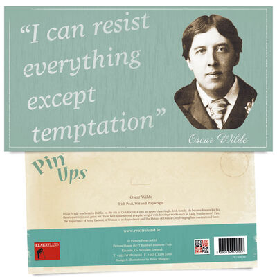 Pin Up Showing The Portrait of Famous Poet  Wit and Playwright Oscar Wilde with Quote