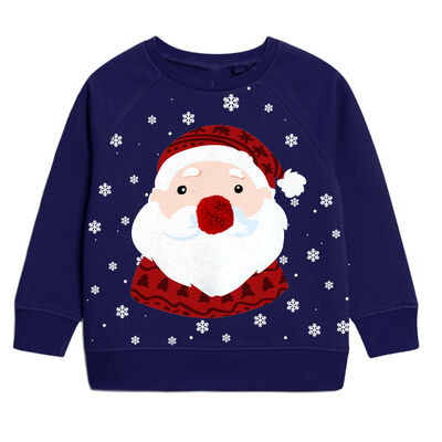Kids Navy Christmas Sweater With Santa And Snowflake Design