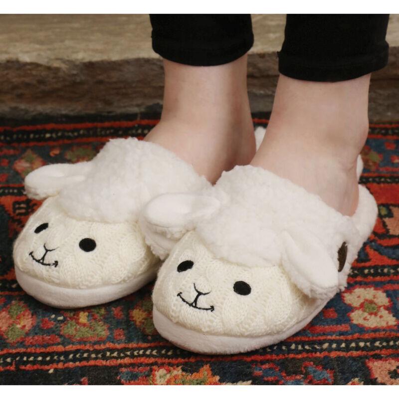 Aran Woollen Mills Fluffy Adult Slip On Slipper With Sheep Design