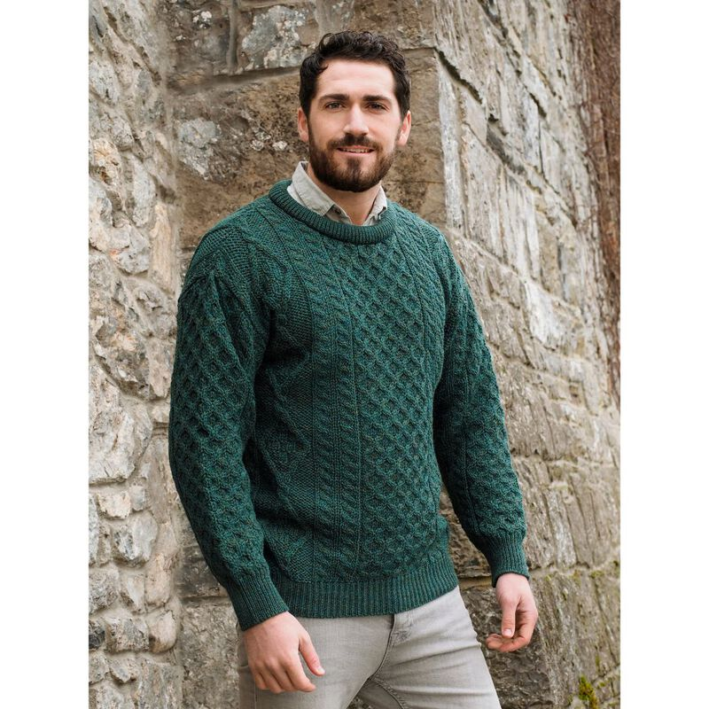100% Pure New Wool Aran Crew Neck Sweater  Moss Green Colour