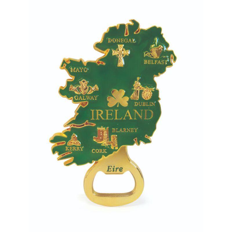 Gold Ireland Map Shaped Metal Bottle Opener Magnet With Landmarks