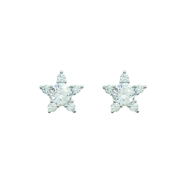 Tipperary Crystal Silver Plated Earrings Flower Design With Clear Sone