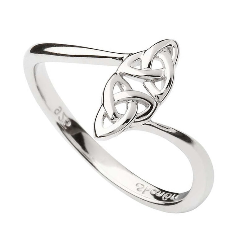 Hallmarked Sterling Silver Double Trinity Knot Ring