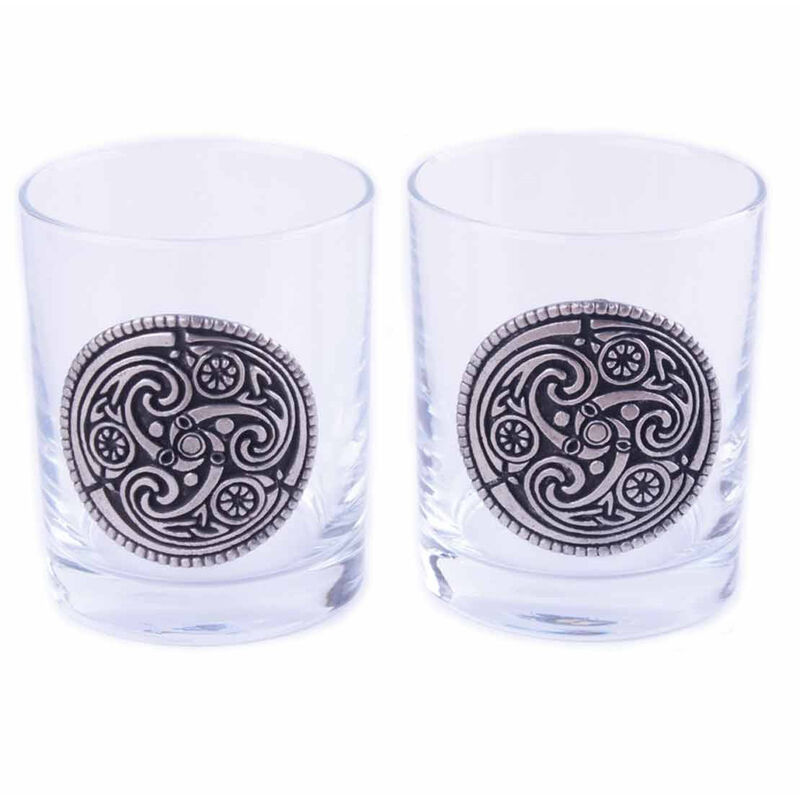 Mullingar Pewter Whiskey Glasses With Kells Design