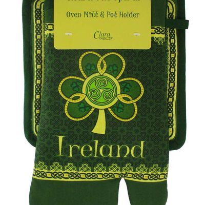 Shamrock Spiral Ireland Oven Glove and Pot Holder With Green Yellow Celtic Design