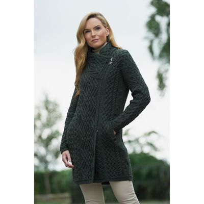 Ladies Merino Wool Cable Knit Coat With Side Zip  Green Colour