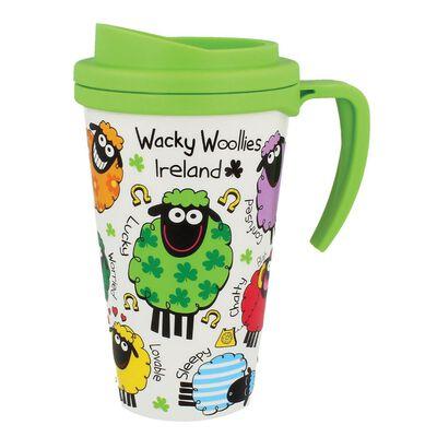 Wacky Woollies Ireland Colorful Travel Mug With Handle And Green Top