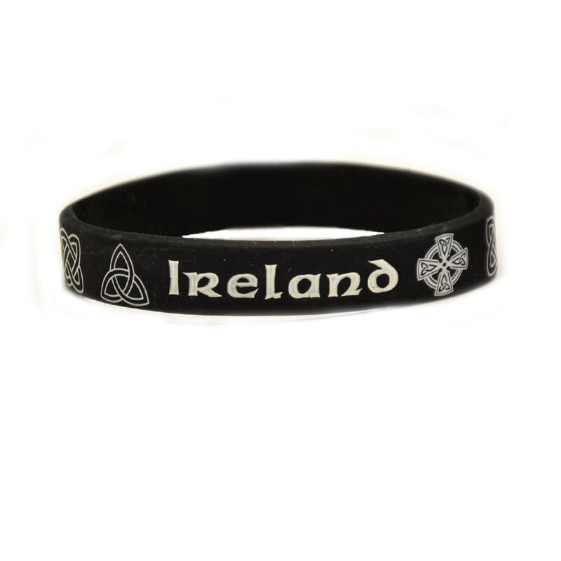 Silicone Wristband With Celtic Designs And Ireland Text  Black Colour