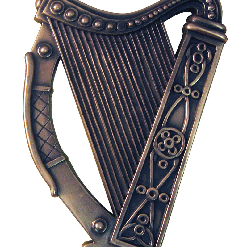 Bronze Plated Wall Plaque With Irish Harp Design 16cm X 13cm