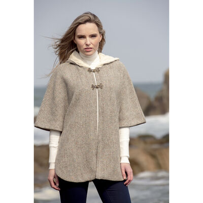 Merino Wool and Donegal Tweed Hooded Cape With Aran Lining  Natural Colour
