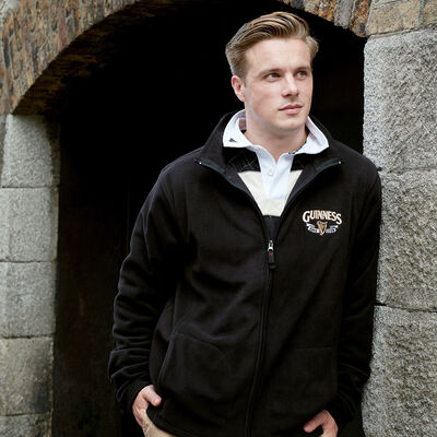 Guinness Full Zip-Up Fleece Jacket With Logo Print  Black Colour