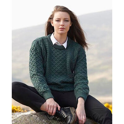 100% Pure New Wool Aran Crew Neck Sweater, Moss Green Colour