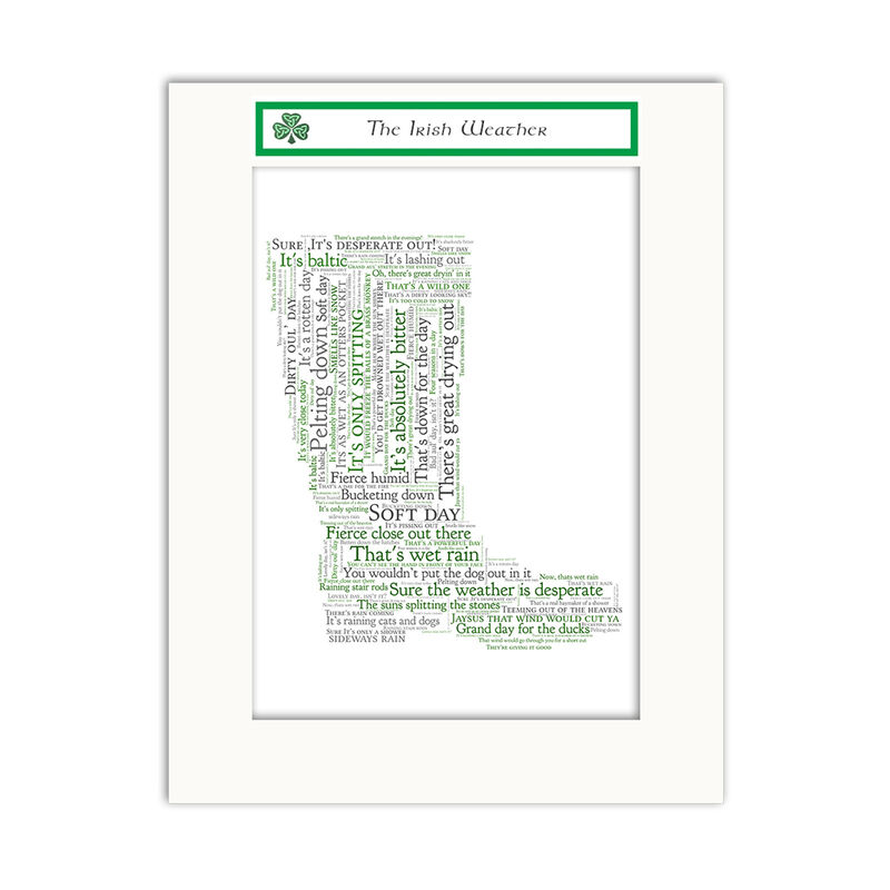 Jumble Ink - The Irish Weather With Welly Boot Design Wall Art Print