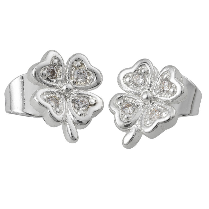 Silver Plated Earrings Four Leaf Clover Design With Clear Sone