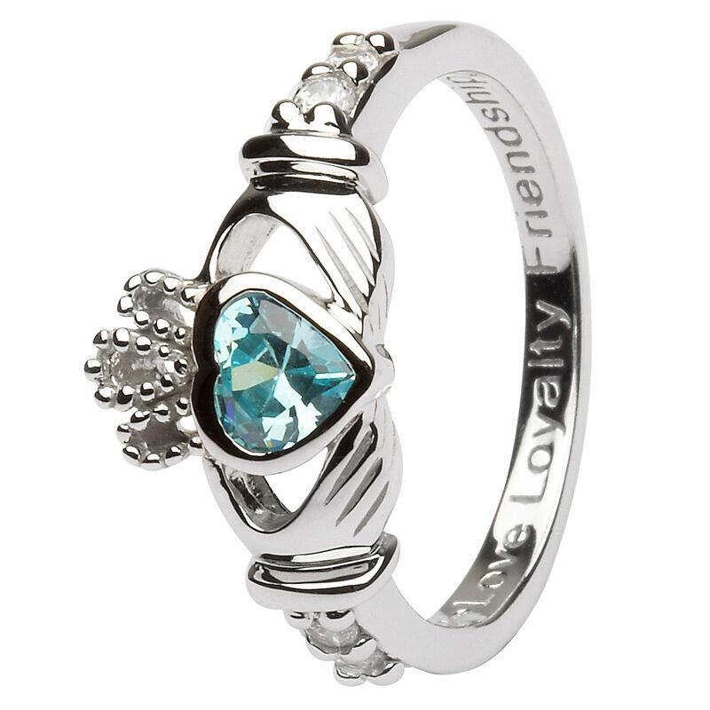 Hallmarked Sterling Silver Claddagh Birthstone Ring March