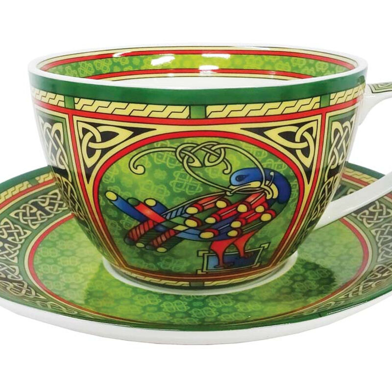 Irish Weave Bone China Cup and Saucer Set With Celtic Peacock Design