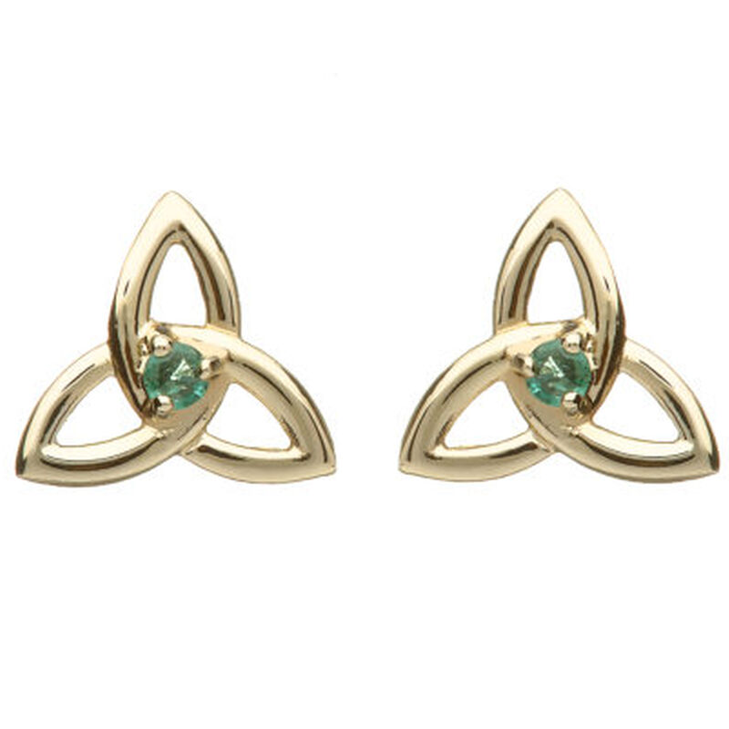 10 CT Yellow Trinity Knot Designed Earrings With Natural Emerald